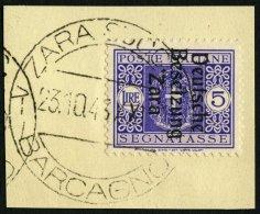 ZARA-PORTOMARKEN P 11III BrfStk, 1943, 5 L. Violett, Type III, Prachtbriefstück, Fotoattest Krischke: Die Auflage B