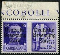 ZARA 20III *, 1943, 50 C. + Stahlhelm, Aufdrucktype III, Pracht, Gepr. Krischke, Mi. 270.-