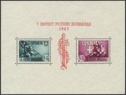 SERBIEN Bl. 4II **, 1943, Block Kriegsinvaliden Mit Abart Rote Linien Im A über 1 Von 1943 In Der Blockinschrift Un