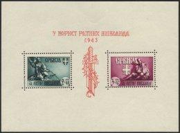 SERBIEN Bl. 4III **, 1943, Block Kriegsinvaliden Mit Abart Dreieckiger Farbfleck In Der Mitte Der Rechten Mantelhäl