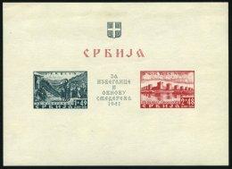SERBIEN Bl. 2I *, 1941, Block Semendria, Ungezähnt, Mit Abart Farbpunkt Rechts An Der 4, Falzrest Im Rand, Marken P