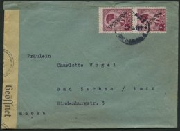SERBIEN 5 Paar BRIEF, 1941, 2 D. Lilakarmin Im Senkrechten Paar Mit Zensurstreifen Auf Bedarfsbrief, Feinst
