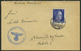 OSTLAND 13 BRIEF, 1942, 25 Pf. Hitler, Einzelfrankatur Auf Brief Nach Nossen, Absender FP-Nr. 44129 Der OT-Bauleitung Mi