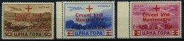MONTENEGRO 33-35 **, 1944, 50 C. - 2 L. Rotes Kreuz, 3 Prachtwerte, Mi. 135.-
