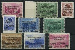 MONTENEGRO 20-28 **, 1944, Flüchtlingshilfe, Teils Herstellungsbedingte Matte Gummierung, Prachtsatz, Mi. 450.-