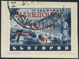 MAKEDONIEN 7IX BrfStk, 1944, 20 Auf 7 L. Schwarzblau Mit Abart Offenes O In Makedonia, Prachtbriefstück, Gepr. Brun