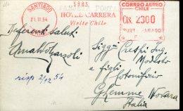 14963 Chile, Red Meter Freistempel Ema, 1954 Santiago, Hotel Carrera Santiago,  Visite Chile, Card Circuled To Italy