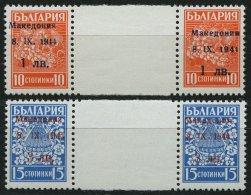 MAKEDONIEN 1,2ZW **, 1944, 1 Auf 10 St. Orangerot Und 3 Auf 15 St. Hellblau, Je Im Waagerechten Zwischenstegpaar, Pracht