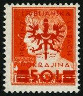 LAIBACH 19a **, 1944, 50 L. Auf 1.75 L. Gelblichrot, Mit Bogenrand-Wasserzeichen (300% Aufschlag), Pracht