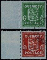 GUERNSEY 4/5 O, 1942, Banknotenpapier, Je Mit Linkem Rand, Pracht, Mi. (150.-)