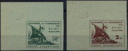 ST.NAZAIRE 1,2a U (*), 1945, Handelskammer, Ungezähnt, Je Aus Der Linken Oberen Bogenecke, Pracht, R!, Fotoattest T