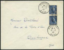 DÜNKIRCHEN 3I BRIEF, 1940 50 C. Blau Im Senkrechten Paar Auf Brief Aus GHYVELDE, Pracht, Gepr. Krischke