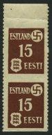ESTLAND 1yUw Paar **, 1941, 15 K. Rötlichbraun, Gewöhnliches Papier, Waagerecht Ungezähnt Im Senkrechten