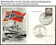 ELSASS P BRIEF, 1940/1, 4 Verschiedene Ungebrauchte Ganzsachenkarten, 2 Davon Leer Gestempelt Mit Sonderstempel (P 1,3,