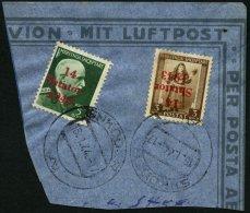 ALBANIEN 3K BrfStk, 1943, 3 Q. Schwärzlichgelbbraun Mit Kopfstehendem Aufdruck Und Zusatzfrankatur Auf Bedarfsbrief