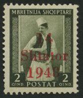 ALBANIEN 2I **, 1943, 2 Q. Bräunlicholiv Mit Abart 1948 Statt 1943, Kleiner Zahnfehler Sonst Pracht, Gepr. Krischke