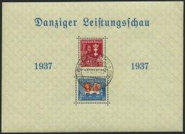 FREIE STADT DANZIG Bl. 3 O, 1937, Block Leistungsschau, Sonderstempel, Winzige Eckknitter, Marken Pracht, Mi. 110.-