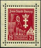FREIE STADT DANZIG 274XI **, 1937, 25 Pf. Danziger Dorf Mit Abart Rechter Bildrand Eingekerbt, Pracht, Mi. 200.-