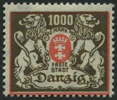 FREIE STADT DANZIG 145X *, 1923, 1000 M. Rot/schwarzbraun, Wz. X, Falzrest, Pracht, Mi. 300.-