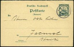 KAMERUN P 13 A BRIEF, 1906, 5 Pf. Grün Antwortteil, Mit Stempel LOLODORF, 16.12.06, Karte Nach Haiti (rückseit