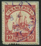 KAMERUN 22 BrfStk, DUALA, 8.2.12, Violetter Bahnpoststempel Auf Knappem Briefstück Mit 10 Pf. Karmin, Mit Wz., Fein