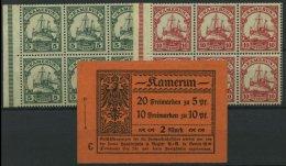 KAMERUN H-Bl. 12B,14B **, 1913, 2 Heftchenblätter Kaiseryacht, Ränder Nicht Durchgezähnt, Heftchenzä