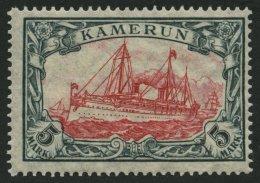 KAMERUN 25IIB **, 1919, 5 M. Grünschwarz/rotkarmin, Mit Wz. Kriegsdruck, Gezähnt B, Postfrisch, Pracht, Mi. 12