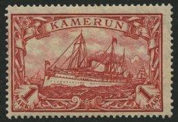 KAMERUN 24IIA *, 1919, 1 M. Dunkelkarminrot, Mit Wz., Kriegsdruck, Gezähnt A, Falzrest, Pracht, Mi. 150.-
