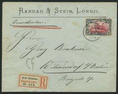 KAMERUN 19 BRIEF, 1904, 5 M. Grünschwarz/bräunlichkarmin, Ohne Wz., Auf überfrankiertem Einschreibbrief V