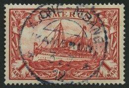 KAMERUN 16 O, 1900, 1 M. Rot, Ohne Wz., Stempel ABONG-MBANG, Pracht