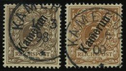 KAMERUN 1a,b O, 1897/8, 3 Pf. Mittelbraun Und Hellockerbraun, 2 Prachtwerte, Mi. 70.-