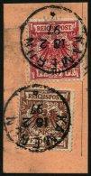 KAMERUN V 47d,50d BrfStk, 1897, 10 Pf. Lebhaftlilarot Und 50 Pf. Lebhaftrötlichbraun Auf Postabschnitt, Stempel KAM