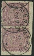 KAMERUN V 37d Paar BrfStk, 1890, 2 M. Lebhaftgraulila Im Senkrechten Paar Auf Leinbriefstück, Klare Stempel KAMERUN