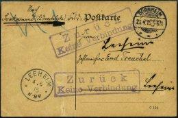 DSWA Postkarte Aus Dornheim, 27.4.15, Nach Swakopmund Per Feldpost Mit 2x R2 Zurück Keine Verbindung Nach Leeheim,