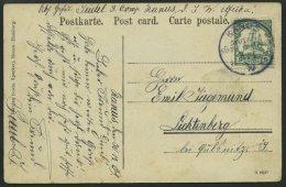 DSWA 25 BRIEF, KANUS Auf Ansichtskarte Mit 5 Pf. Grün Nach Lichtenberg, Marke Aufklebefalte, Pracht