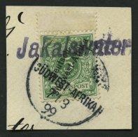DSWA 2 BrfStk, JAKALSWATER, Wd-Stempel Auf 5 Pf. Opalgrün Mit Oben Anhängendem Steg, Prachtbriefstück