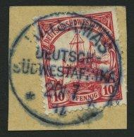 DSWA 26 BrfStk, HATSAMAS Auf 10 Pf. Karminrot, Unten Rechts Scherenschnitt Sonst Prachtbriefstück