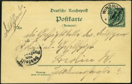 DSWA P 11A BRIEF, 1900, 5 Pf. Antwortteil Von WINDHOEK Von Oblt. Fritsche In Omaruru Nach Berlin, Pracht