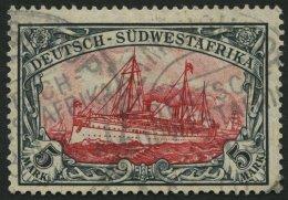 DSWA 32Aa O, 1906, 5 M. Grünschwarz/dunkelkarmin, Mit Wz., Gelblichrot Quarzend, Kleine Randkerbe Sonst Pracht, Gep