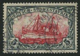 DSWA 32Aa O, 1906, 5 M. Grünschwarz/dunkelkarmin, Mit Wz., Gelblichrot Quarzend, Stempel GOBABIS, Pracht, Fotobefun