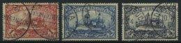 DSWA 20-22 O, 1901, 1 - 3 M. Kaiseryacht, Ohne Wz., 3 Prachtwerte, Mi. 143.-