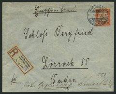 DSWA 16 BRIEF, 1901, 30 Pf. Rötlichorange/rotschwarz Auf Mattgelblichorange, Ohne Wz., Einzelfrankatur Auf Einschre