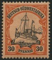 DSWA 16 *, 1901, 30 Pf. Rötlichorange/rotschwarz Auf Mattgelblichorange, Ohne Wz.,Falzreste, Pracht, Mi. 90.-