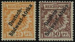 DSWA Ia,II *, 1897, 25 Pf. Gelblichorange Und 50 Pf. Lebhaftrötlichbraun, Falzreste, 2 Prachtwerte, Gepr. W. Engel,