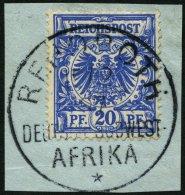 DSWA VS 48dIV BrfStk, 1894, 20 Pf. Violettultramarin Mit Bisher Nicht Gelistetem Seltenen Plattenfehler IV Mittlere Kral