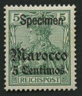 DP IN MAROKKO 20SP *, 1905, 5 C. Auf 5 Pf. Reichspost Mit Aufdruck Specimen, Falzrest, Pracht, Mi. 350.-