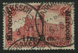 DP IN MAROKKO 16II O, 1903, 1 P. 25 C. Auf 1 M. Fetter Aufdruck, Mit Tiefer Stehendem Aufdruck, üblich Gezähnt