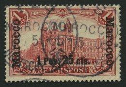 DP IN MAROKKO 16II O, 1903, 1 P. 25 C. Auf 1 M. Fetter Aufdruck, Stempel FES, Pracht, Signiert, Mi. 240.-
