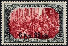 DP IN MAROKKO 19I/IV *, 1900, 6 P. 25 C. Auf 5 M., Type I, Nachmalung Nur Mit Deckweiß, Falzreste, Pracht, Mi. 400