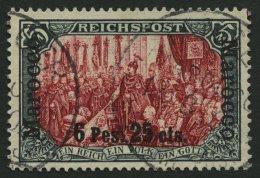 DP IN MAROKKO 19I/III O, 1900, 6 P. 25 C. Auf 5 M., Type I, Nachmalung Mit Rot Und Deckweiß, Leichte Papierfalte,